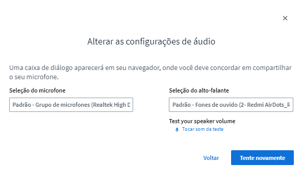 Altere as opções de áudio