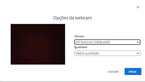 Escolha as opções para webcam